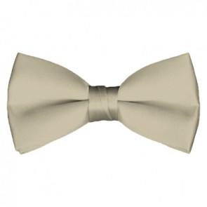 Solid Beige Bow Tie Pre-tied Satin Mens Ties