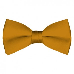 Solid Gold Bar Bow Tie Pre-tied Satin Mens Ties