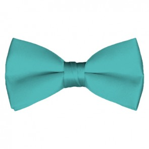 Solid Aqua Green Bow Tie Pre-tied Satin Mens Ties