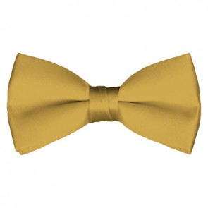Solid Honey Gold Bow Tie Pre-tied Satin Mens Ties