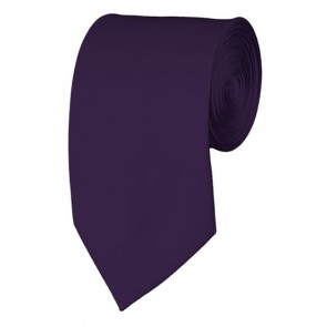 Slim Eggplant Necktie 2.75 Inch Ties Mens Solid Color Neckties