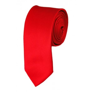 Skinny Red Ties Solid Color 2 Inch Tie Mens Neckties