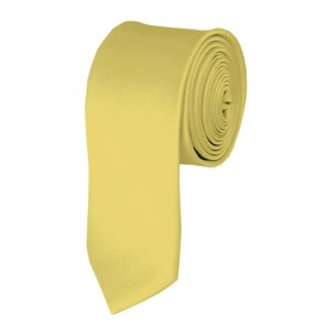 Skinny Light Yellow Ties Solid Color 2 Inch Tie Mens Neckties