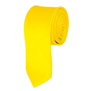 Skinny Lemon Yellow Ties Solid Color 2 Inch Tie Mens Neckties