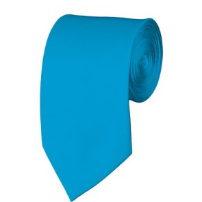 Slim Turquoise Necktie 2.75 Inch Ties Mens Solid Color Neckties