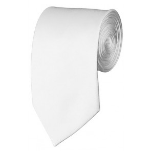 Slim White Necktie 2.75 Inch Ties Mens Solid Color Neckties