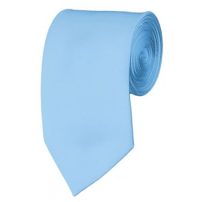 Slim Powder Blue Necktie 2.75 Inch Ties Mens Solid Color Neckties