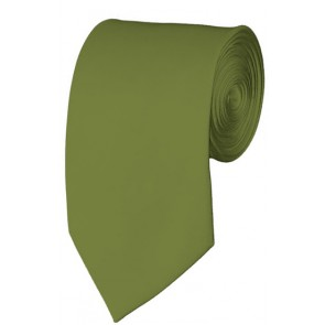 Slim Olive Necktie 2.75 Inch Ties Mens Solid Color Neckties