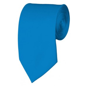 Slim Peacock Blue Necktie 2.75 Inch Ties Mens Solid Color Neckties