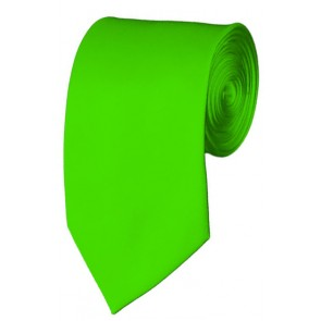 Slim Lime Green Necktie 2.75 Inch Ties Mens Solid Color Neckties