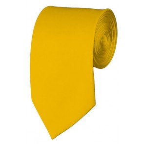 Slim Golden Yellow Necktie 2.75 Inch Ties Mens Solid Color Neckties