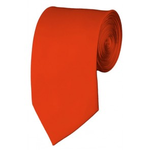 Slim Coral Red Necktie 2.75 Inch Ties Mens Solid Color Neckties