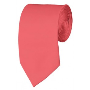 Slim Coral Rose Necktie 2.75 Inch Ties Mens Solid Color Neckties