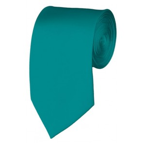 Slim Teal Green Necktie 2.75 Inch Ties Mens Solid Color Neckties