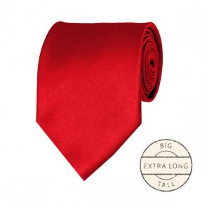 Red Extra Long Tie Solid Color Ties Mens Neckties