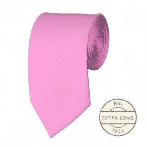 Pink Extra Long Tie Solid Color Ties Mens Neckties