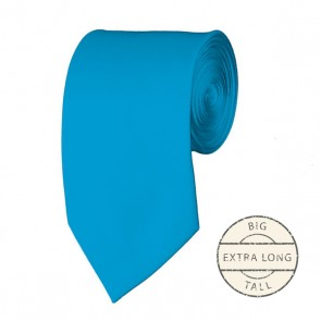 Turquoise Blue Extra Long Tie Solid Color Ties Mens Neckties