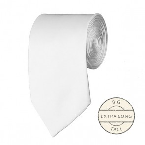 White Extra Long Tie Solid Color Ties Mens Neckties