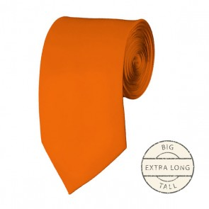 Orange Extra Long Tie Solid Color Ties Mens Neckties