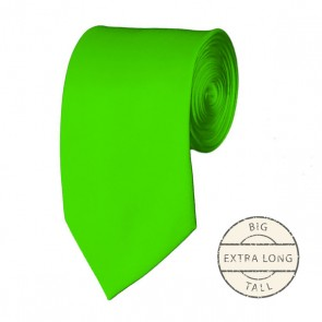 Lime Green Extra Long Tie Solid Color Ties Mens Neckties