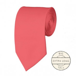 Coral Rose Extra Long Tie Solid Color Ties Mens Neckties