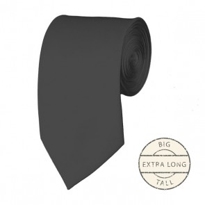 Charcoal Extra Long Tie Solid Color Ties Mens Neckties