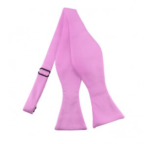 Solid Pink Self Tie Bow Tie Satin Mens Ties