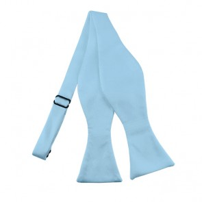 Solid Powder Blue Self Tie Bow Tie Satin Mens Ties
