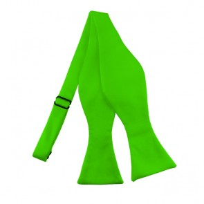 Solid Lime Green Self Tie Bow Tie Satin Mens Ties