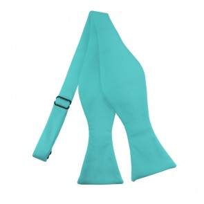 Solid Aqua Green Self Tie Bow Tie Satin Mens Ties