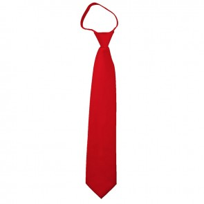 Solid Red Boys Zipper Ties Kids Neckties