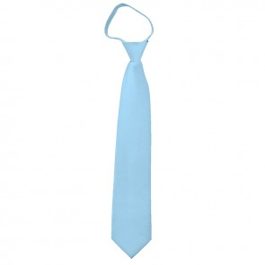 Solid Powder Blue Zipper Ties Mens Neckties