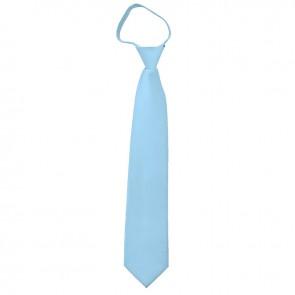 Solid Powder Blue Boys Zipper Ties Kids Neckties