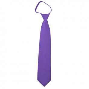 Solid Purple Boys Zipper Ties Kids Neckties