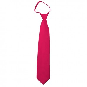 Solid Fuchsia Boys Zipper Ties Kids Neckties