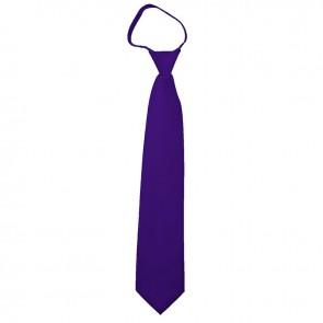 Solid Dark Purple Boys Zipper Ties Kids Neckties