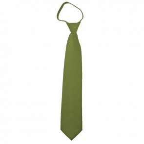 Solid Olive Green Zipper Ties Mens Neckties