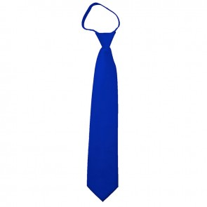 Solid Royal Blue Boys Zipper Ties Kids Neckties