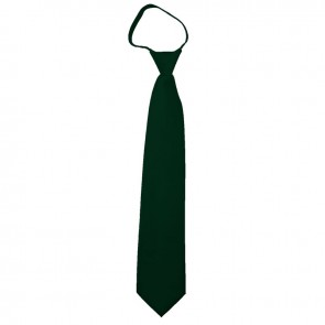 Solid Hunter Green Boys Zipper Ties Kids Neckties