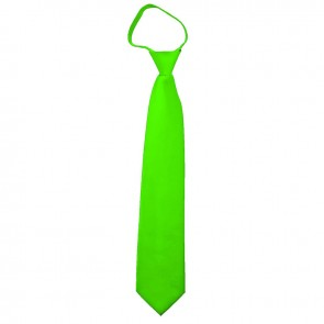 Solid Lime Green Boys Zipper Ties Kids Neckties