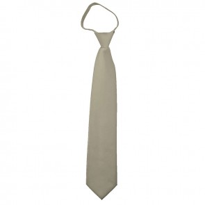 Solid Beige Boys Zipper Ties Kids Neckties