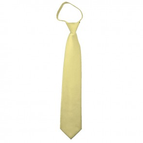 Solid Light Yellow Zipper Ties Mens Neckties
