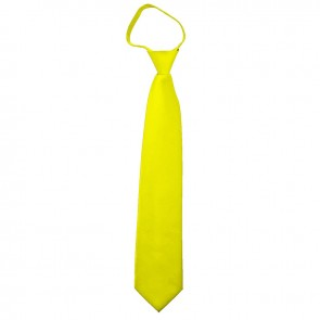Solid Lemon Yellow Boys Zipper Ties Kids Neckties