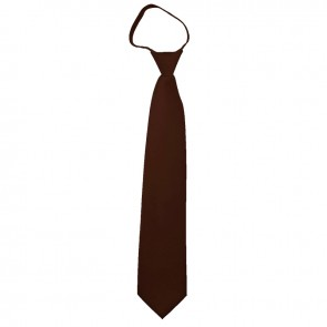 Solid Brown Boys Zipper Ties Kids Neckties