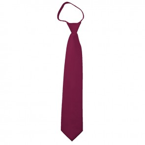 Solid Burgundy Boys Zipper Ties Kids Neckties