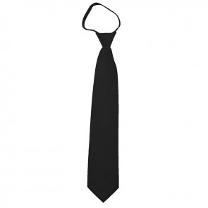 Solid Black Boys Zipper Ties Kids Neckties